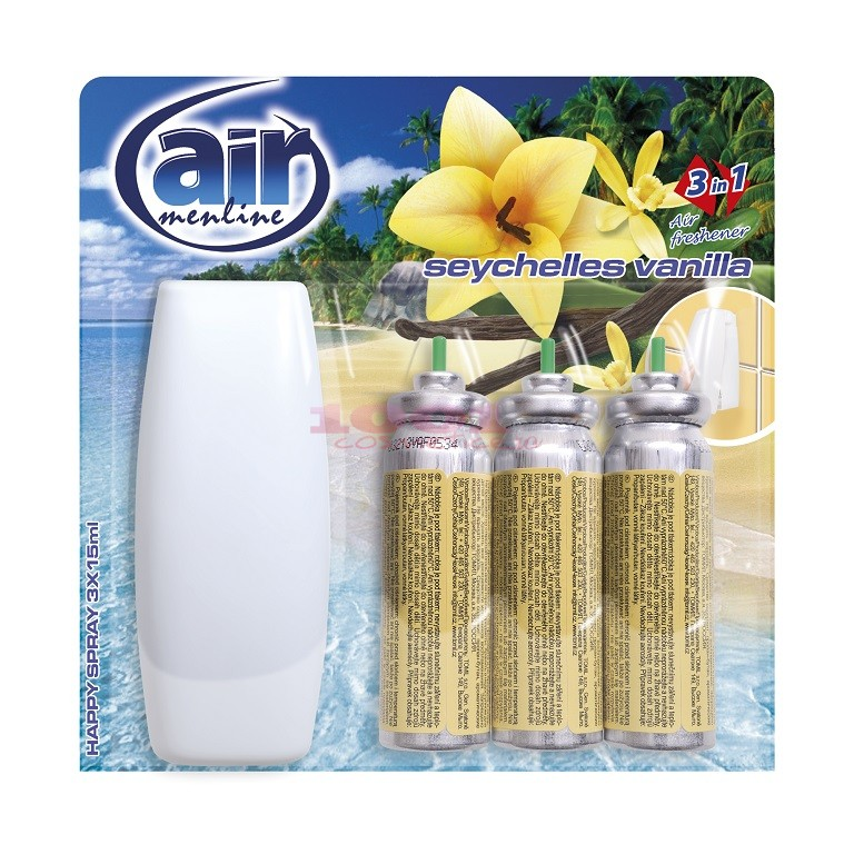 AIR MENLINE 3IN1 SPRAY APARAT + 3 BUCATI REZERVE SEYCHELLES VANILLA SET