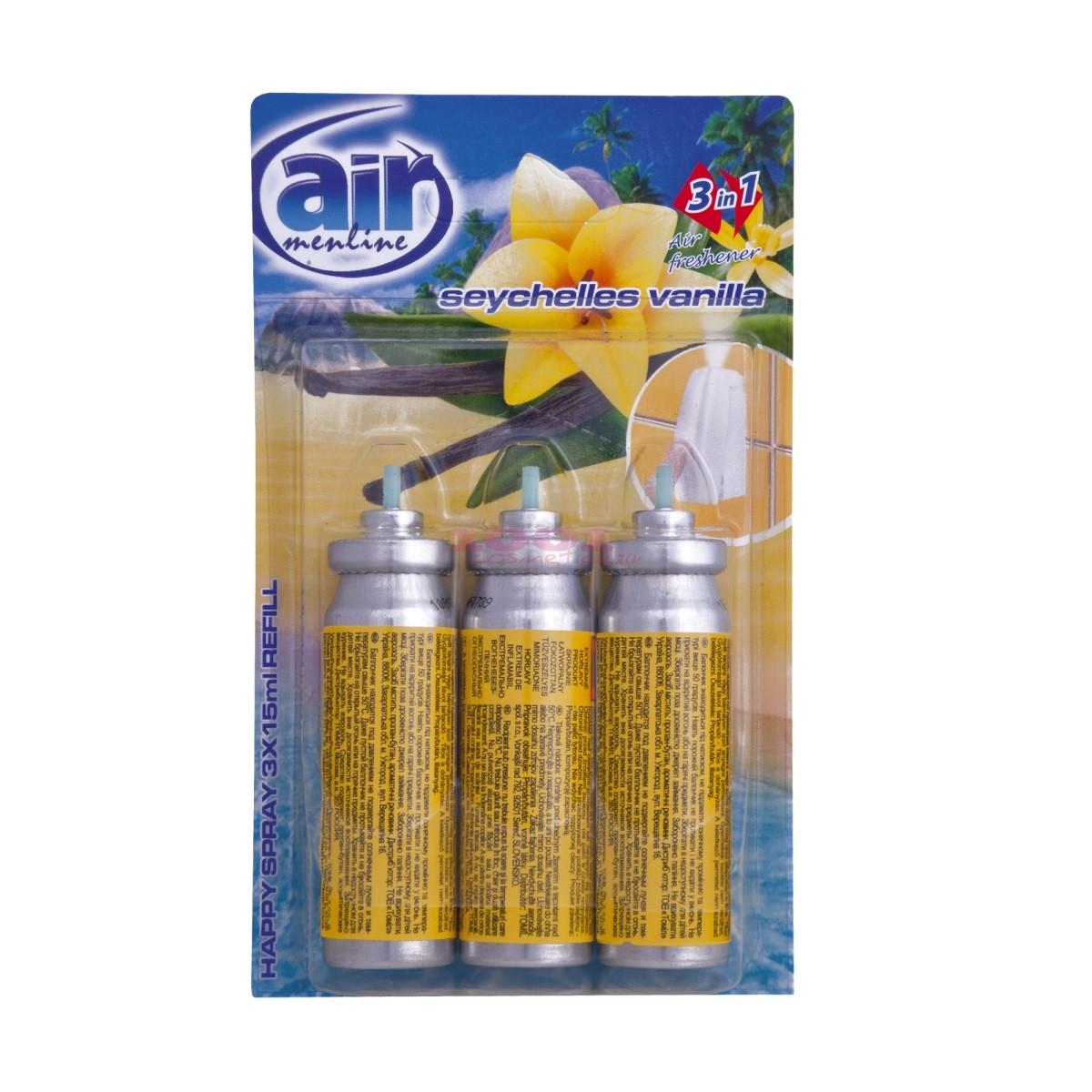 AIR MENLINE 3IN1 SPRAY REZERVA SET 3 BUCATI SEYCHELLES VANILLA