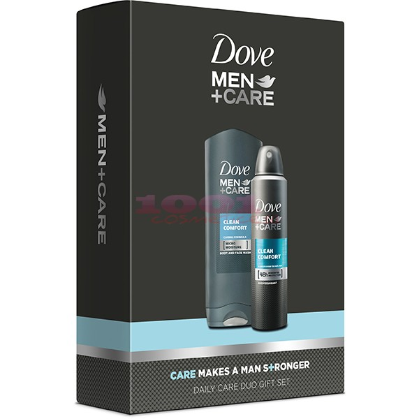 Dove Men+Care Clean Confort Gel De Dus 250 Ml + Clean Confort Antiperspirant Deo 150 Ml Set