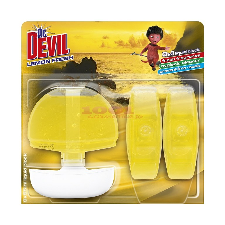 DR. DEVIL NEUTRO EFFECT ODORIZANT WC + 2 REZERVE LEMON FRESH SET