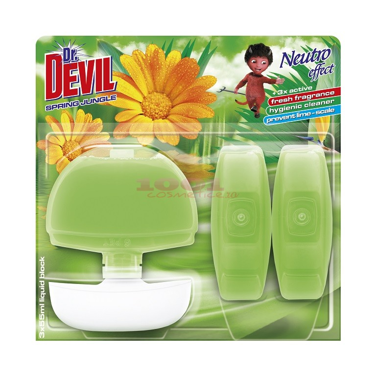 DR. DEVIL NEUTRO EFFECT ODORIZANT WC + 2 REZERVE SPRING JUNGLE SET