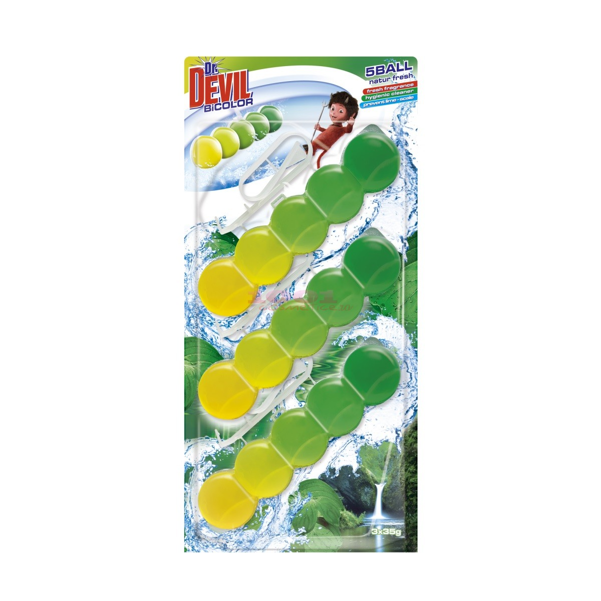 DR. DEVIL WC BICOLOR 5 BALL ODORIZANT TOALETA NATUR FRESH
