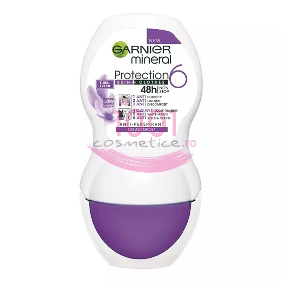Garnier Mineral Protection Skin+ Clothes 48h Deodorant Anti-Perspirant Roll On imagine