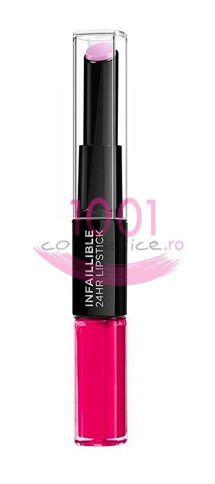LOREAL INFAILLIBLE 2 STEP 24H RUJ ULTRAREZISTENT FLAWLESS FUSCHIA 121