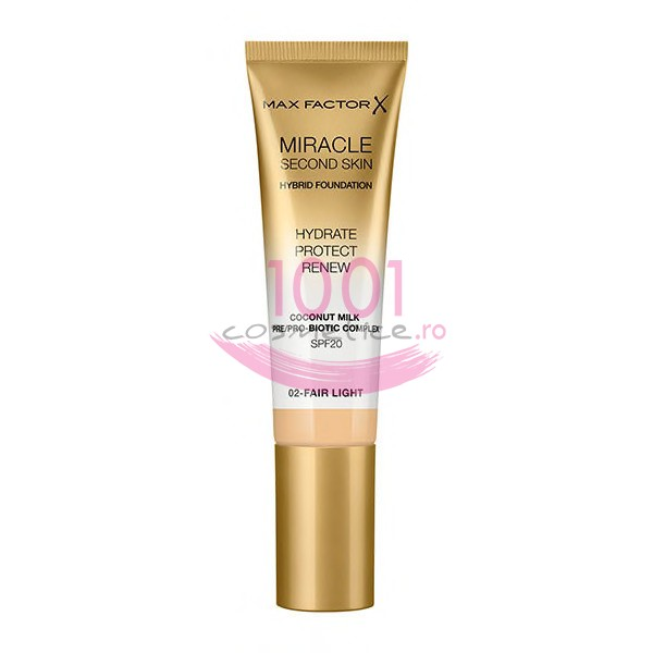 MAX FACTOR MIRACLE SECOND SKIN FOND DE TEN HYBRID 02 FAIR LIGHT