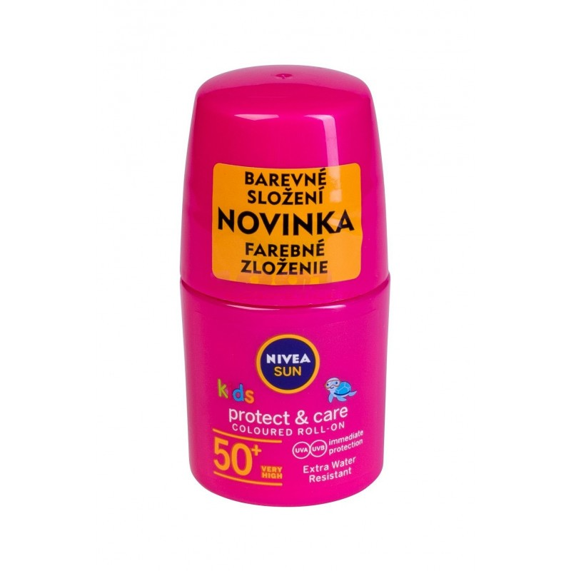 NIVEA PROTECT & CARE PINK COLOURED ROLL ON EXTRA WATER REZISTENT SPF 50+ PROTECTIE PLAJA COPII