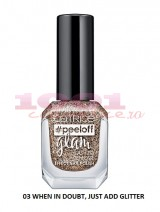 CATRICE PEELOFF GLAM EASY TO REMOVE EFFECT LAC DE UNGHII 03 WHEN IN DOUBT, JUST ADD GLITTER