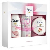 DOVE RELAXING CARE EXFOLIANT BODY SCRUB 225 ML + GEL DE DUS 250 ML + LOTIUNE DE CORP 250 ML SET