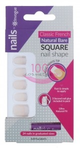 INVOGUE SQUARE BARE UNGHII FALSE 24 BUCATI + LIPICI SET