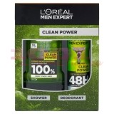 LOREAL CLEAN POWER SHOWER BODY / FACE / HAIR 300 ML + DEODORANT ANTIPERSPIRANT 150 ML SET