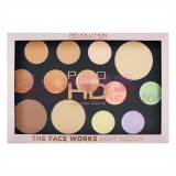 MAKEUP REVOLUTION THE FACE WORKS FINISH POWDER - BAKED HIGHLIGHTER - CONCEALER - BRONZER PALETTE LIGHT MEDIUM