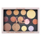 MAKEUP REVOLUTION THE FACE WORKS FINISH POWDER - BAKED HIGHLIGHTER - CONCEALER - BRONZER PALETTE MEDIUM DARK
