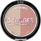 MISS SPORTY DESIGNER DUO SCULPTING BLUSH FARD DE OBRAZ 100 PEACHY