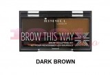 RIMMEL LONDON BROW THIS WAY KIT PENTRU SPRANCENE DARK BROWN 03