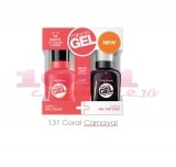 SALLY HANSEN MIRACLE GEL DUO PACK TOP COAT + LAC DE UNGHII CORAL CARNAVAL 131