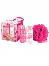 GRACE COLE THE LUXURY BATHING COMPANY PINK PEONY & VETIVER SET CREMA DE CORP 100 ML + GEL DE DUS 100 ML + BURETE DE BAIE